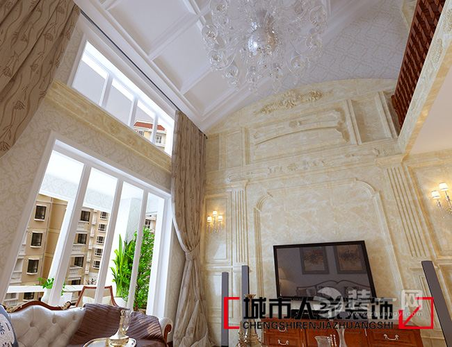 客厅空间挑空,电视背景墙石材满挂,在视觉上加深了空间的纵深感,显得